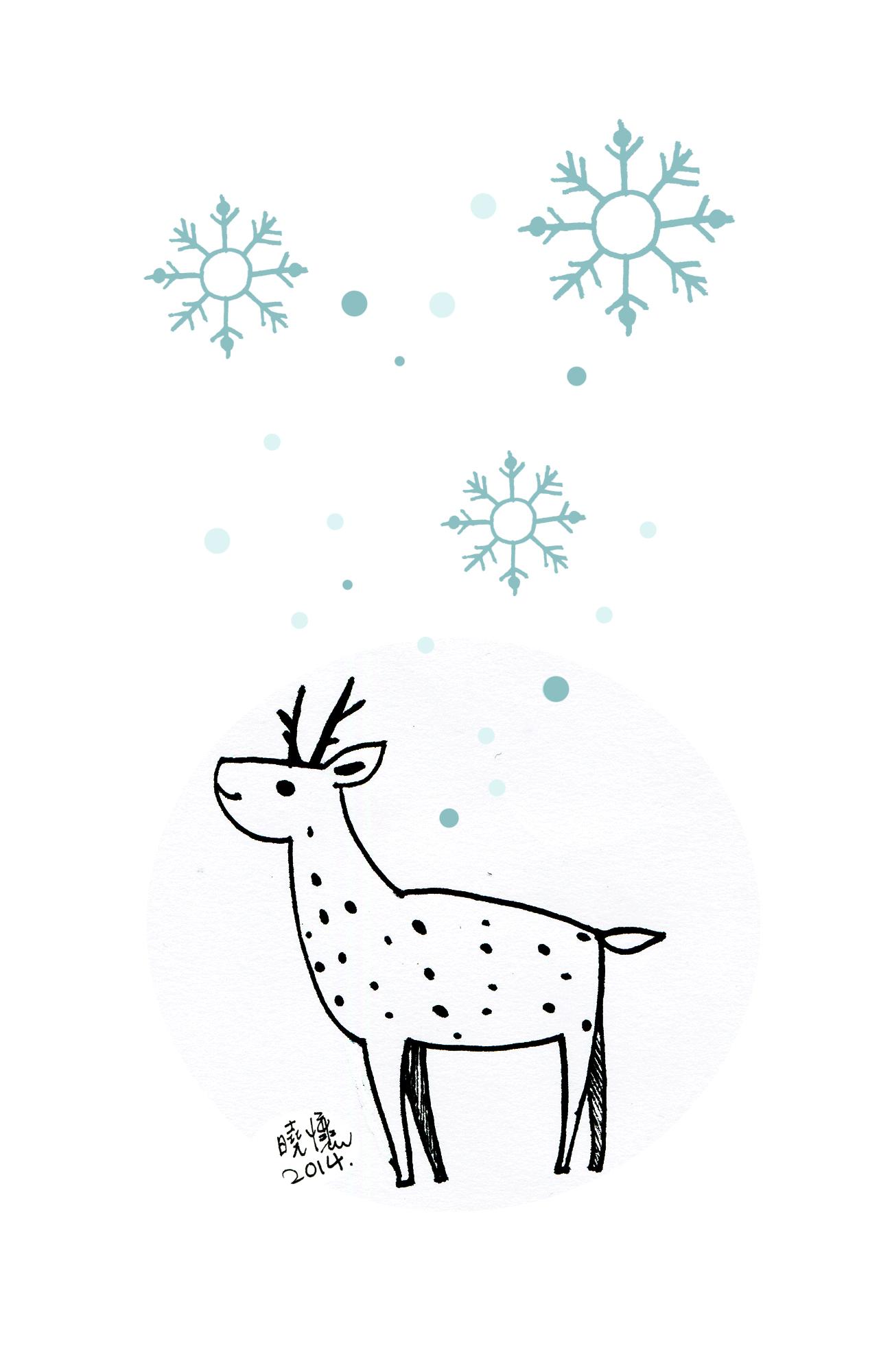麋鹿简笔画 手绘