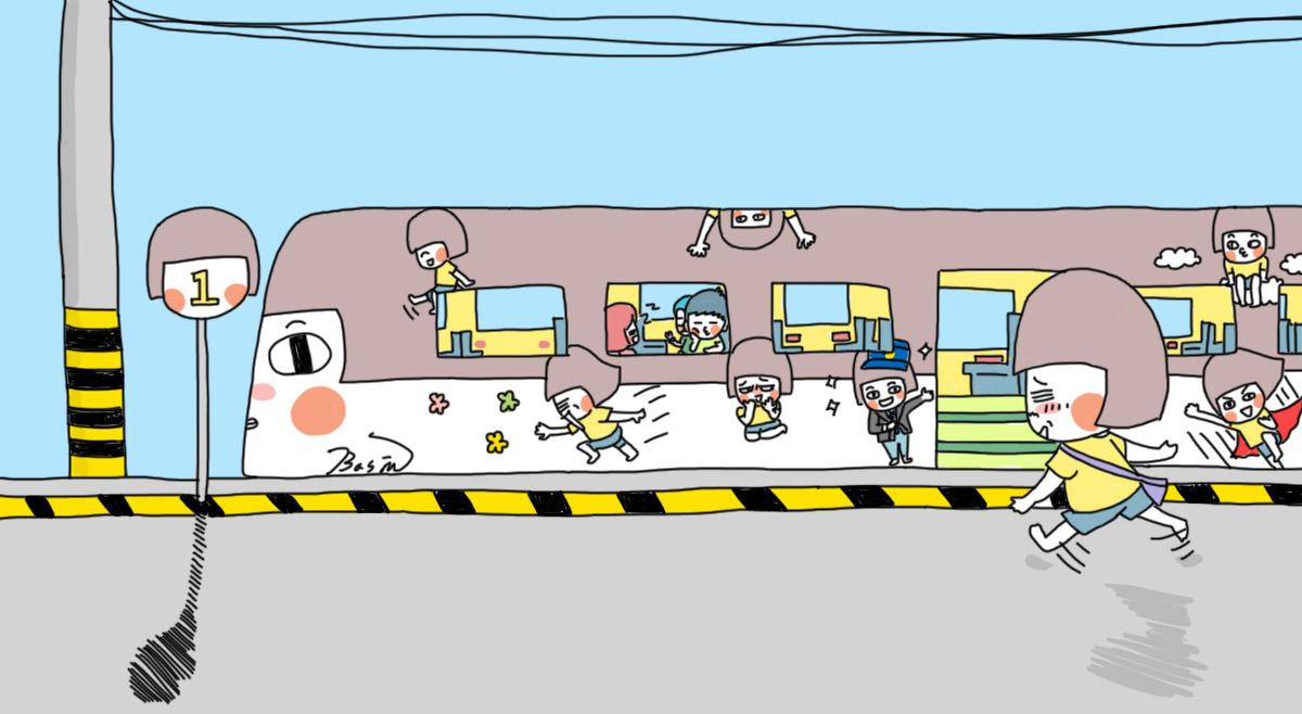 火车卡通简笔画彩色